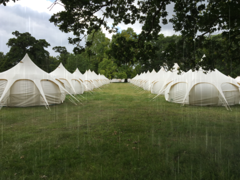 tents in rain